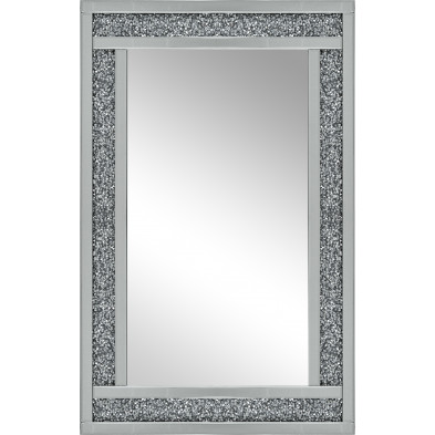 Miroir mural argenté design effet 3D L. 80 x P. 3 x H. 120 cm collection Tuturano