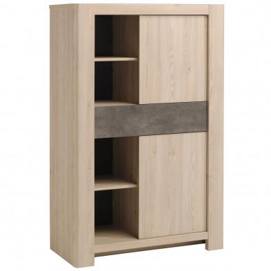 Argentier - meuble bar contemporain marron L. 100 x P. 43 x H. 154 cm collection Elstgeest