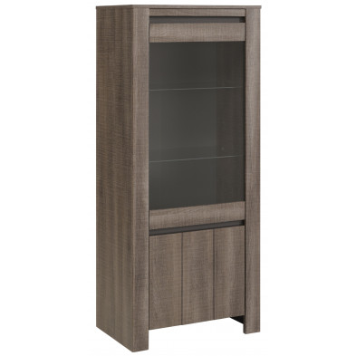 Argentier - vaisselier - vitrine marron contemporaine L. 65 x P. 40 x H. 153 cm Collection Grade