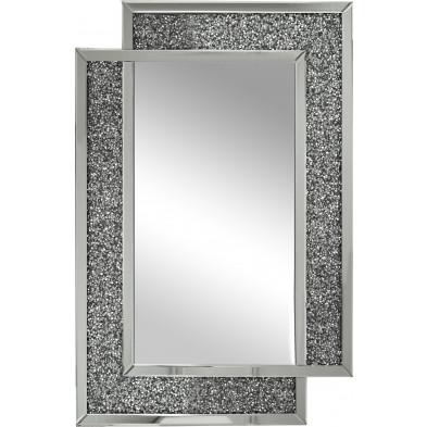 Miroir argenté design effet 3D 80 x 120 cm collection Lustosa