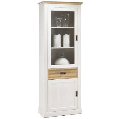 Vaisselier - vitrine contemporain coloris blanc et marron contemporain en bois mdf et panneaux de particules mélaminés de haute qualité  L. 76 x P. 40 x H. 205 cm collection Fancy
