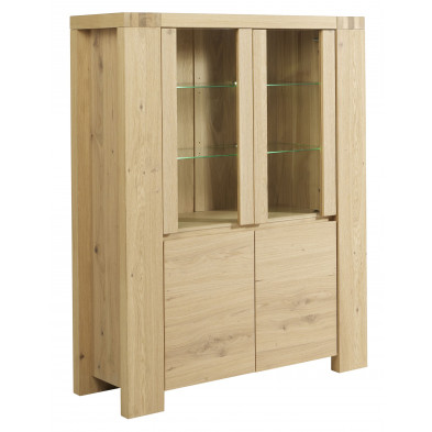 Argentier - vaisselier - vitrine marron contemporaine en bois massif . 126 x P. 44 x H. 158 cm Collection Drishaig