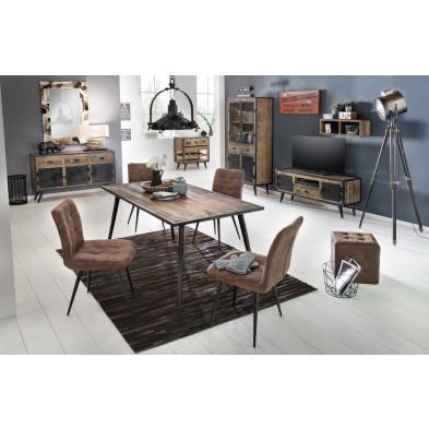 Composition salle à manger complète style rustique coloris marron et noir  collection Concerned
