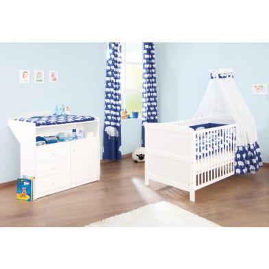 Pack chambre bébé blanc design en bois massif collection Aldingen