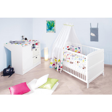Pack chambre bébé blanc design en bois massif collection Mouth