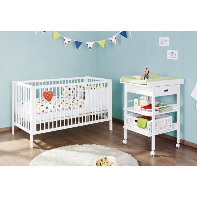 Pack chambre bébé blanc design en bois massif pin collection Hennuyeres