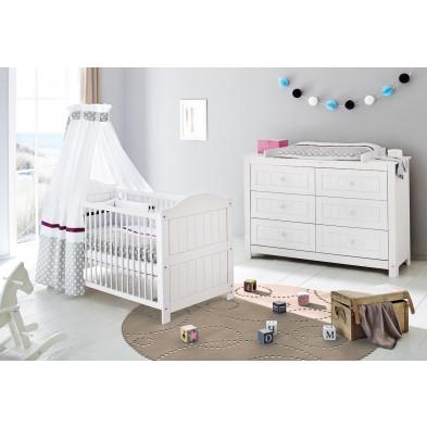 Set de 2 pièces pour chambre bébé avec lit à barreaux évolutif 140x70 cm et commode à langer en bois massif coloris blanc