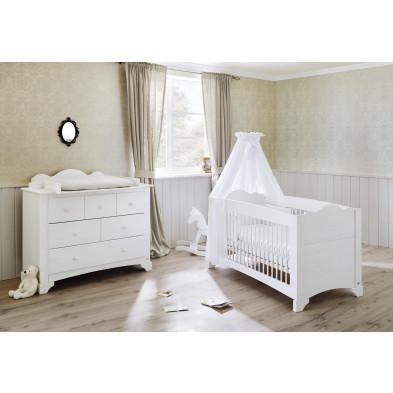 Pack chambre bébé blanc design en bois massif pin collection Bomb