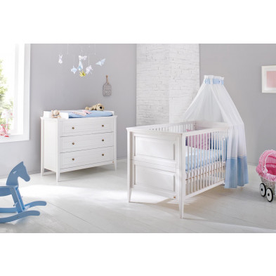 Pack chambre bébé blanc design en bois massif pin collection Vaccolino