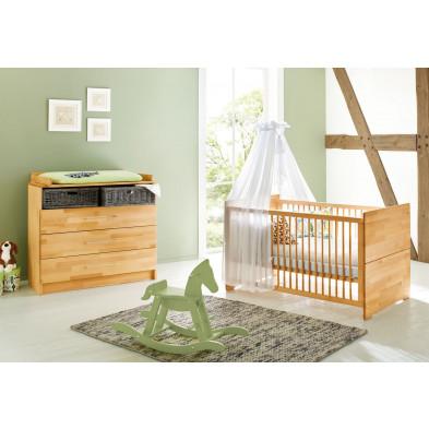 Pack chambre bébé beige design en bois massif hêtre collection Fazilet