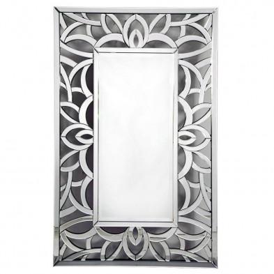 Miroir mural argenté design effet 3D  80 cm x 120 cm collection Iaen