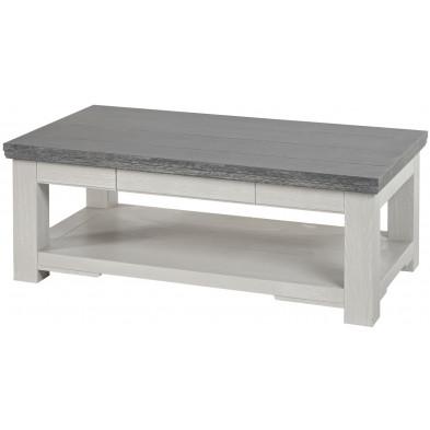 Table basse classique couleur chêne blanc en bois massif et panneaux de particules de haute qualité L. 124 x P. 68 x H. 48 cm Collection Lamas