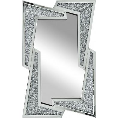 Miroir argenté design effet 3D L 80 x 120 cm collection CROVA
