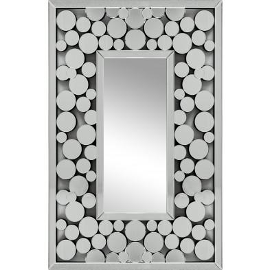 Miroir argenté design effet 3D 80 cm x 120 cm collection Loya