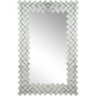 Miroir mural argenté design effet 3D 80 cm x 120 cm collection Culodi