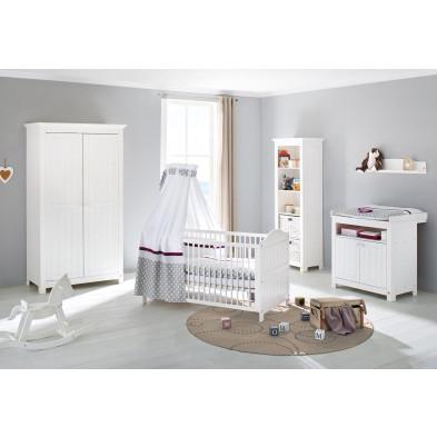 Composition chambre bébé design avec lit évolutif 140x70 cm coloris blanc collection