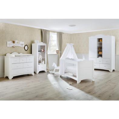 Composition chambre bébé en pin massif coloris blanc  collection
