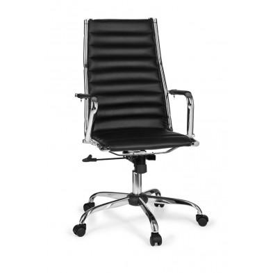 Chaise et fauteuil de bureau noir design en pvc L. 60 x H. 107 - 117 cm x P.62 cm collection Siebelink