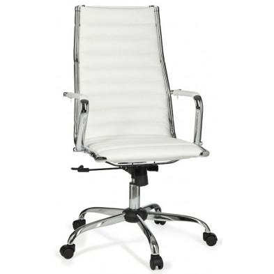 Chaise et fauteuil de bureau blanc design en pvc L. 60 x H. 107 - 117 cm x P.62 cm collection Siebelink