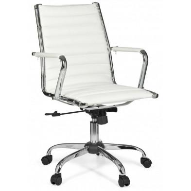 Chaise et fauteuil de bureau blanc design en pvc L. 60 x H. 93 - 101 cm x P.57 cm collection Siebelink