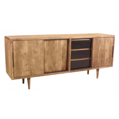 Bahut rustique en acacia et en métal avec 3 portes 3 tiroirs L. 180 x P. 40 x H. 75 cm collection Stockman