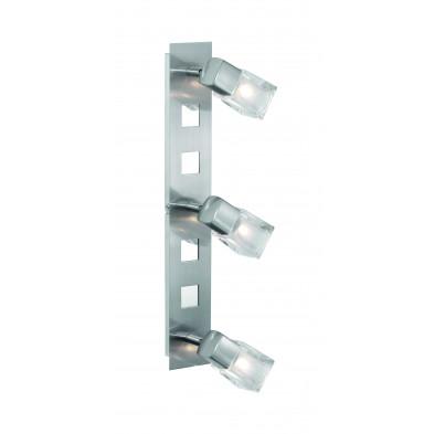 Plafonnier argenté design en acier L. 53,5 x H. 16,5 cm collection Moult