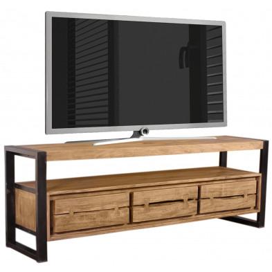 Meuble TV  contemporain en acacia et métal coloris cognac et noir L. 160 x P. 40 x H. 55 cm collection Castanoprimo