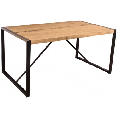 Table de salle à manger  contemporaine en acacia et métal coloris cognac et noir L. 160 x P. 90 x H. 76 cm collection Castanoprimo