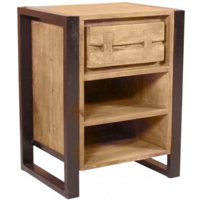 Table de chevet  contemporaine en acacia et métal coloris cognac et noir L. 50 x P. 40 x H. 65 cm collection Castanoprimo