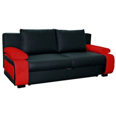 Canapé convertible design à 2 places en pvc noir et  rouge avec coffre de rangement L. 200 x P. 97 x H. 90 cm collection Madone