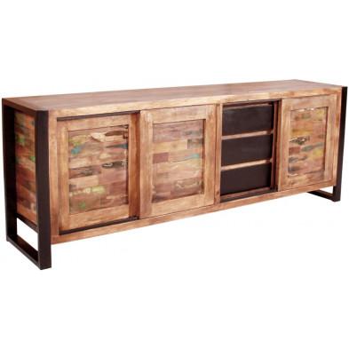 Bahut vintage avec 3 portes coulissantes et 3 tiroirs en bois massif recyclé avec piètement en acier L. 180 x P. 40 x H. 65 cm collection Lauzier