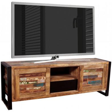 Meuble tv vintage avec 2 portes coulissantes et 1 tiroir en bois massif recyclé avec piètement en acier L. 160 x P. 40 x H. 55 cm collection Lauzier