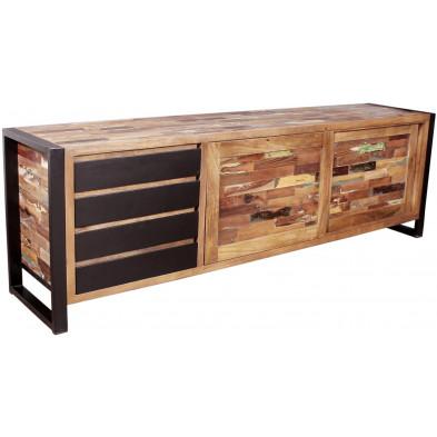 Bahut vintage avec 2 portes coulissantes et 4 tiroirs en bois massif recyclé avec piètement en acier L. 200 x P. 45 x H. 65 cm collection Lauzier