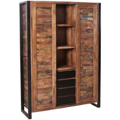 Bar vintage avec 2 portes coulissantes et 4 tiroirs en bois massif recyclé avec piètement en acier  L. 130 x P. 40 x H. 180 cm collection Lauzier