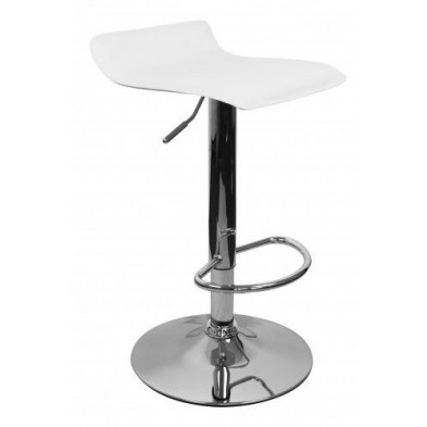Tabouret de bar blanc design L. 39 x P. 39 x H. 66 - 86 cm collection Denoever
