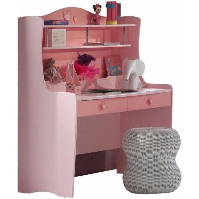 Bureau enfant rose romantique en bois mdf L. 144 x P. 123 x H. 58 cm collection Ayeneux