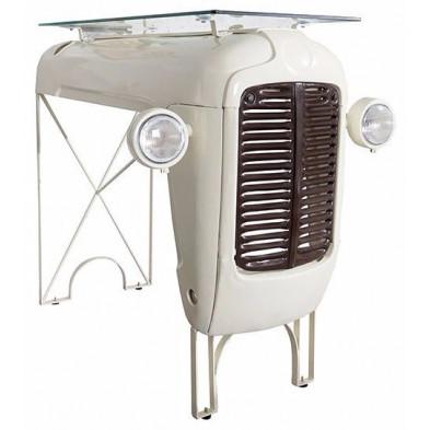 Table de bar en verre avec calandre tracteur vintage coloris beige L. 120 x P. 85 x H. 110 cm collection Spijkerboer