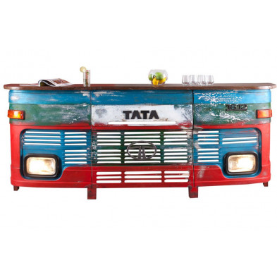 Bar comptoir avec calandre camion indien vintage en bois massif et fer avec éclairage L. 255 x P. 45 x H. 105 cm collection Squamish