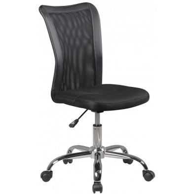 Chaise pivotante en tissu réglable en hauteur à 5 roulettes coloris noir L. 42 x P. 42 x H. 90 - 100 cm collection C-Karmena