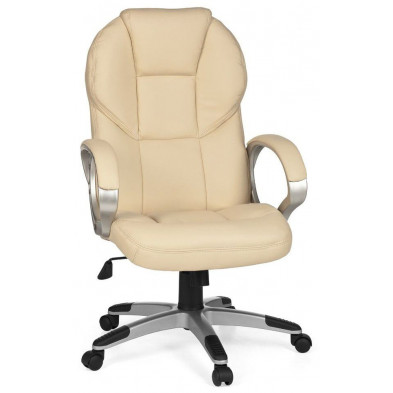 Chaise et fauteuil de bureau beige design en PVC L. 63 x P. 57 x H. 107 - 115 cm collection Cugnon