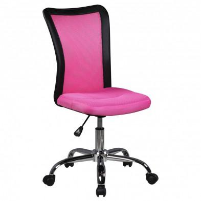 Chaise de bureau rose design en pvc L. 42 x P. 42 x H. 90 - 100 cm collection Stranraer