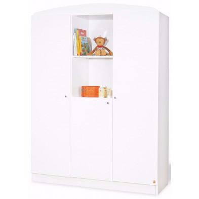 Armoire 3 portes design blanc en bois massif  L. 135 x H. 190 cm collection Maarleveld