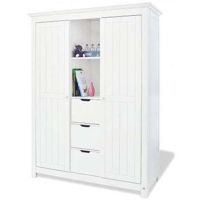Armoire 2 portes design blanc en bois massif   L.142 x P.59 x H.189 cm collection Vanuffelen