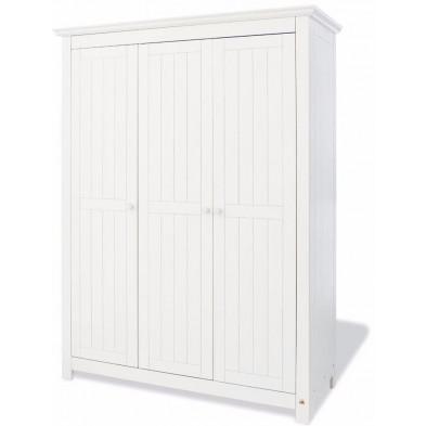 Armoire 3 portes design blanc en bois massif L. 142 x H. 189 cm collection Vanuffelen