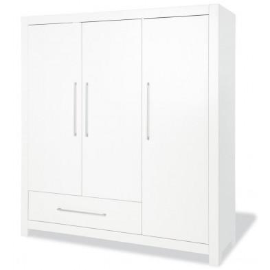 Armoire 3 portes design blanc en bois massif  L.169 x P.58 x H.185 cm collection Heaton