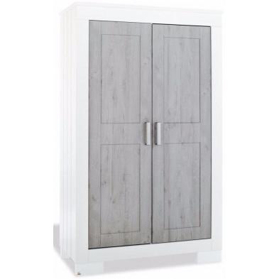 Armoire 2 portes design blanc et gris en bois mdf L. 52 x H. 192 cm collection Rhisnes