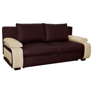 Canapé convertible design à 2 places en pvc marron et beige avec coffre de rangement L. 200 x P. 97 x H. 90 cm collection Madone