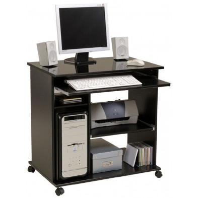 Bureau informatique design noir L. 76 x P. 50 x H. 76 cm Collection Charlevoix