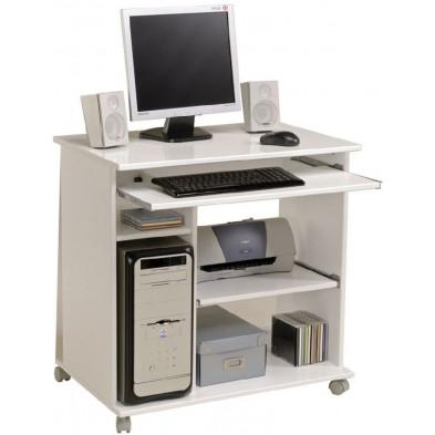 Bureau informatique design blanc en panneaux de particules mélaminés de haute qualité L. 76 x P. 50 x H. 76 cm Collection Tougas