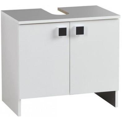 Meuble sous vasque blanc moderne en panneaux de particules mélaminés de haute qualité L. 59 x P. 38 x H. 53 Collection Moryas